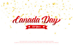 Canada Day. Canada 150 Years anniversary banner with gold falling confetti. Canada Independence Day.  Stock Photography