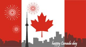 Canada day. Canadian flag. City view stock illustration