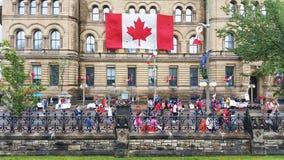 Canada Day celebration. OTTAWA, CANADA - JULY 1, 2016 : Canadians celebrating Canada Day in downtown Ottawa, Ontario Stock Image