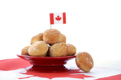 Canada Day celebration with plate of donut holes. Royalty Free Stock Photography