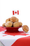 Canada Day celebration with plate of donut holes. Royalty Free Stock Images