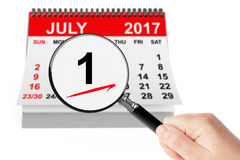 Canada Day Concept. 1 July 2017 calendar with magnifier Stock Images