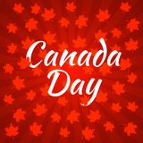 Canada Day. Dark red background, rays from the center, red maple leaves. Canada Day. Concept of event. 1 July. The name of the holiday. Dark red background, rays Stock Photos
