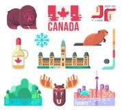 Canada Day Design Elements. For Web Design or Print Design. Stereotype Symbols of Canadian Life. Flat Vector Set Illustration Stock Images