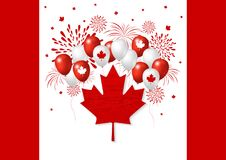 Canada day design of flag and balloon with firework vector. Illustration Stock Photos
