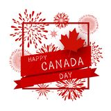 Canada day design of flag and firework with line frame. On white background vector illustration Royalty Free Stock Photography