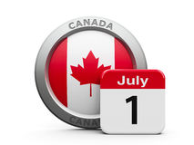 Canada Day. Emblem of Canada with calendar button - The First of July - represents the Canada Day, three-dimensional rendering, 3D illustration Royalty Free Stock Images
