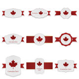 Canada Day festive Labels Set with Text. Vector Illustration Royalty Free Stock Photos