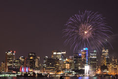 Canada day fireworks in vancouver Royalty Free Stock Photo