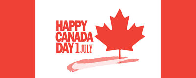 Canada Day greeting card. Sale discount banner for Happy Canada Day! Greeting card, poster, placard, with maple logo, red color of the Canadian flag. Canada day Royalty Free Stock Photos