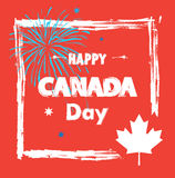 Canada Day. Happy Canada Day! Sticker, Sign, banner, card, poster, placard, with Firework, sparkles. stars, maple logo, red color of the Canadian flag. Canada Stock Photo