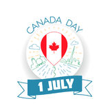 Canada Day 1 july. Greeting card. Holiday - Canada Day. Icon in the linear style Royalty Free Stock Images