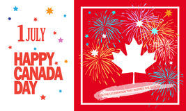 Canada Day 1 July. Happy Canada Day! Sticker, Sign, banner, card, poster, placard, with Firework, sparkles. stars, maple logo, red color of the Canadian flag Royalty Free Stock Photography