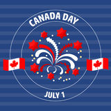 Canada Day label  on blue.  Vector illustration. Royalty Free Stock Photo