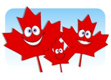 Canada Day Maple Leaf Family. An illustration featuring a unique family including mom, dad and baby red Canda Day maple leaves on blue Stock Images