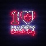 Canada Day Neon Vector Design Template. Happy Canada Day Illustration festive, colorful flyer, banner light, modern. Design. Vector illustration Royalty Free Stock Images