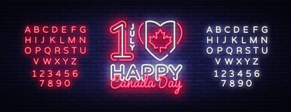 Canada Day Neon Vector Design Template. Happy Canada Day Illustration festive, colorful flyer, banner light, modern. Design. Vector illustration. Editing text Royalty Free Stock Photo