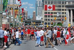 Canada Day In Ottawa. Canadians gather to celebrate Canada Day in the nation's capital of Ottawa.  It is always a popular event as thousands of patriotic Royalty Free Stock Photo