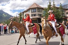 Canada Day Parade in Banff. Banff, Alberta, Canada July 1, 2012: Calgary Stampede Princesses wave at spectators at the Canada Day Parade in Banff, Alberta, on Stock Photo