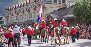 Canada Day Parade in Banff. Alberta, on July 1st, 2012. Canada Day is celebrated with barbecues, parades, music, and evening fireworks Stock Image