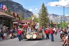 Canada Day Parade in Banff. Alberta, on July 1st, 2012. Canada Day is celebrated with barbecues, parades, music, and evening fireworks Royalty Free Stock Image
