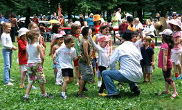 Canada Day Picnic. An entertainer performs for a youthful audience at a Canada Day picnic in Toronto on July 1, 2009 Stock Photography