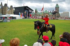 Canada Day RCMP riding horses in Ottawa, Canada stock photography