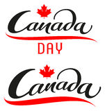 Canada Day. Set lettering text for greeting card Stock Image