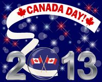Canada Day. Silver 3-D 2013 with glass ball. Canada Day. Silver 3-D 2013 with glass ball with flags and banner. Vector illustration Stock Photos