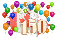 Canada Day, 150 years anniversary. 3D rendering. Isolated on white background Stock Images