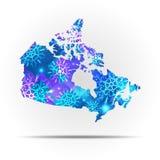 Canada de carte de vecteur avec des flocons de neige Illustration d'hiver pour votre conception Image libre de droits