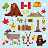 Canada decorative set. Canada colored decorative icons set with hockey maple syrup beaver isolated vector illustration Stock Photography