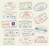 Canada des Etats-Unis de timbre de passeport de ville de voyage d'icônes de vecteur illustration libre de droits