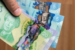 Canada Dolar with man finger royalty free stock image