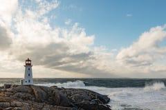 Canada du phare NS de crique de Peggys Photographie stock
