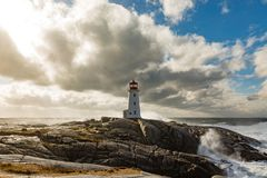Canada du phare NS de crique de Peggys Photos libres de droits