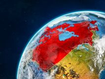 Canada on Earth with borders. Canada on realistic model of planet Earth with country borders and very detailed planet surface and clouds. 3D illustration royalty free stock images