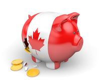 Canada economy and finance concept for GDP and national debt crisis. Rendered in 3D over a white background Stock Image