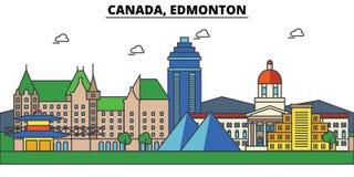 Canada, Edmonton Architecture d'horizon de ville Editable Photographie stock libre de droits