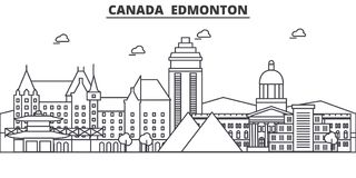 Canada, Edmonton architecture line skyline illustration. Linear vector cityscape with famous landmarks, city sights. Design icons. Editable strokes stock illustration