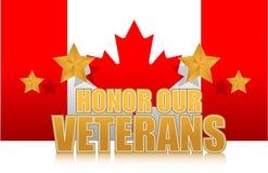 Canada eert ons teken van de veteranen gouden illustratie Stock Foto's