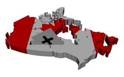 Canada election map with ballot paper Stock Photography