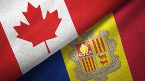 Canada en Andorra twee vlaggen textieldoek, stoffentextuur stock illustratie