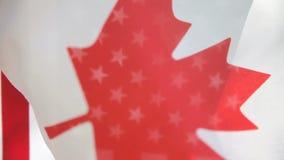 Canada et drapeaux des Etats-Unis banque de vidéos