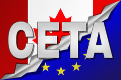 Canada and European Union flags in CETA text with shadow. Stock Photos