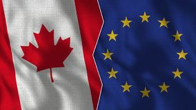 Canada and European Union Half Flags Together. Fabric Texture - High Quality royalty free stock photography