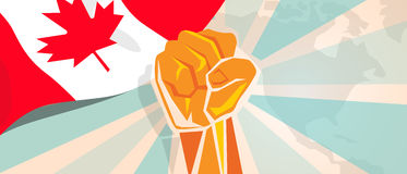 Canada fight and protest independence struggle rebellion show symbolic strength with hand fist illustration and flag. Vector royalty free illustration