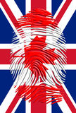 Canada Fingerprint on United Kingdom Banner. Canada Fingerprint on United Kingdom Flag Royalty Free Stock Photography