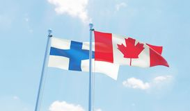 Two waving flags. Canada and Finland, two flags waving against blue sky. 3d image Stock Photo