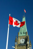 Canada Flag. Canadian Maple Leaf Flag Flying On Parliament Hill, Ottawa Ontario Canada (Focus On The Flag Stock Photography